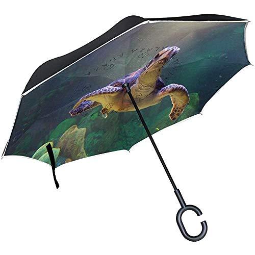 Elxf Umgekehrter Regenschirm Lustige Schildkröte Bilder Doppelschicht-Rückschirm, winddichter UV-Schutz Großer gerader Regenschirm mit C-förmigem Griff