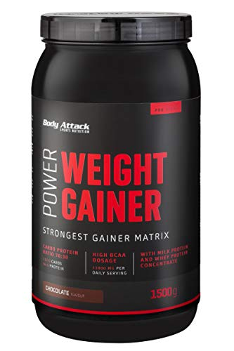 Body Attack Power Weight Gainer, Chocolate, 1,5 kg, 100{d3d7b4033f982ddcc2b2c19cf71dc2dee180e46c977118e8099995c0481cc9c8} Masseaufbau, Kohlenhydrat-Eiweißpulver zum Muskelaufbau mit Whey-Protein, ideal für Hardgainer