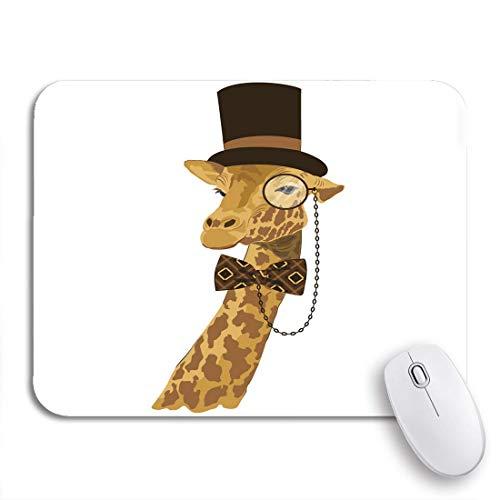 N\A Alfombrilla de ratón para Juegos Retrato de Animales de Jirafa con Sombrero Alto Alfombrilla de ratón Antideslizante de Arco Impreso Alfombrilla de ratón para portátiles Alfombrillas de ratón