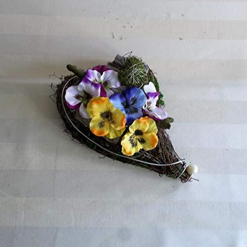 Grabgesteck Herz mit bunten Stiefmütterchen, Grabschmuck, Allerheiligengesteck, Trauerfloristik, Trauergesteck