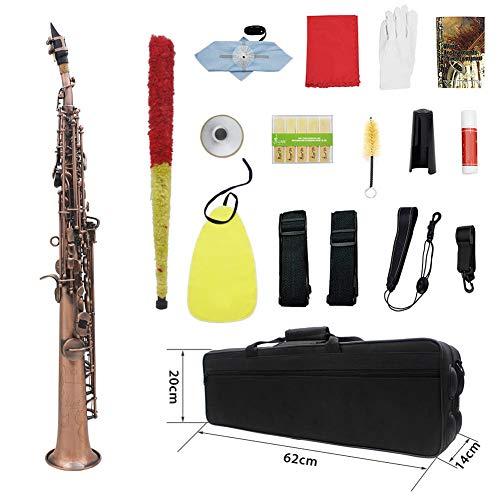AYYNAM Soprano Saxofoon B-Flat Rood Koper Lak Goud Treble Rechte Buis Saxofoon met Doek Doos Handschoenen Reinigingsdoek Reed
