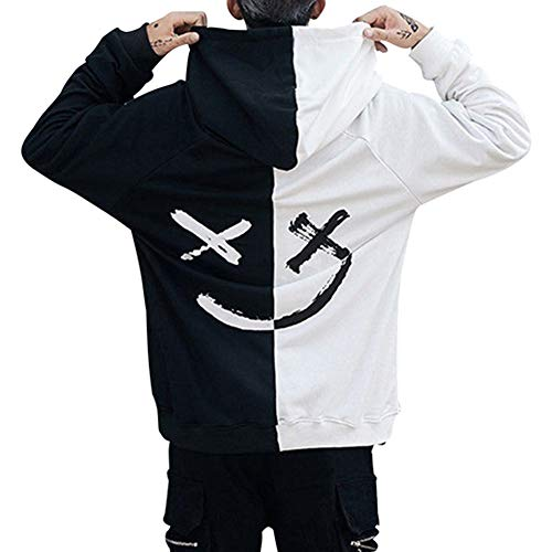 Mens Boys Fashion Hooded Jerseys Long Sleeve Contrast Color Smile Hip-Hop Sweatshirt Hoodies (M, Black-White)