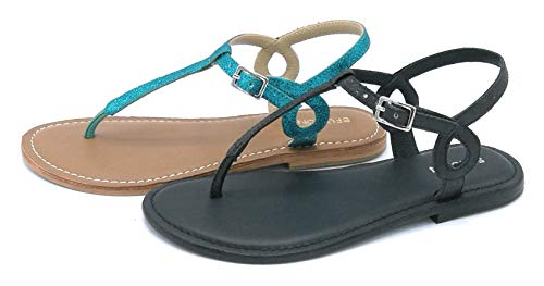 CB fusion 219019 sandalia Chanclas Lurex negro verde esmeralda - Talla zapatos 40 color verde esmeralda