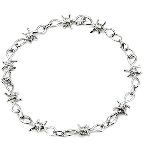 QLJ Collar con Colgante Creativo de Moda Hip Hop Thorn Collar Corto Hombres y Mujeres Clavícula de Espina exagerada de Moda - Astilla - 22cm - Astilla - 22cm
