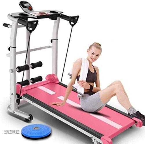 Haoshuai mechanische loopband, inklapbaar, stil, multifunctioneel, 3-in-1, voor het verdraaien van de taille, roze, Home Fitness Equipment