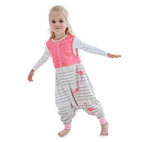 MICHLEY baby schlafsack mit Füßen, mädchen und Junge Schlafstrampler Vierjahreszeiten,Rosa 3-5 Jahre