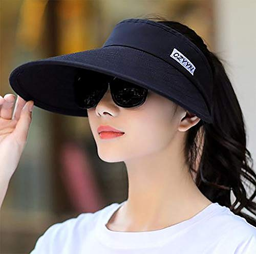 Summer women's wide-brimmed sun hat, adjustable and foldable, covering the face and sun protection, not turning over when cycling, empty-top beach hat, anti-ultraviolet, ponytail, suitable for outdoor