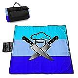 End Nazi Chef Hat Cuchillos Manta de Picnic al Aire Libre Impermeable Manta de Picnic a Prueba de Arena e Impermeable Totalizador para el Camping en la Playa