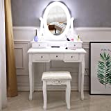 Newzeroin Vanity Table Set with 10 LED Lights, Wooden Makeup Dressing Table and Cushioned Stool Set with 5 Drawers 360° Rotation Single Mirror for Kids Girls Women Bedroom Makeup Organizer