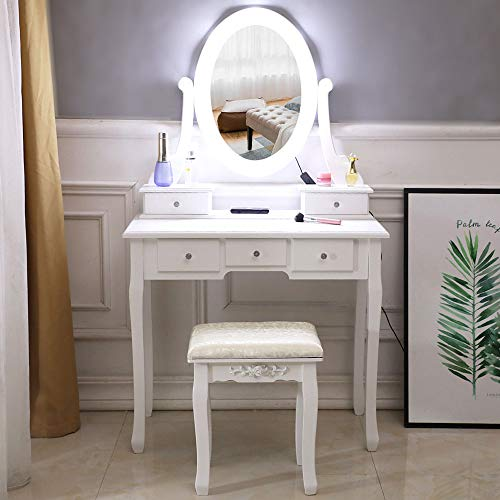 SSLine White Vanity Table Stool Set with Lighted Mirror White Finish Makeup Dressing Table with 5 Drawers Cushioned Vanity Bench for Bedroom Bathroom Women Girls Gift