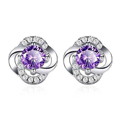 Pendientes Mujer Pendientes De Plata De Ley 925, Pendientes De Diseño De Flores De Cristal Blanco Púrpura, Joyería De Oreja para Mujer, Púrpura