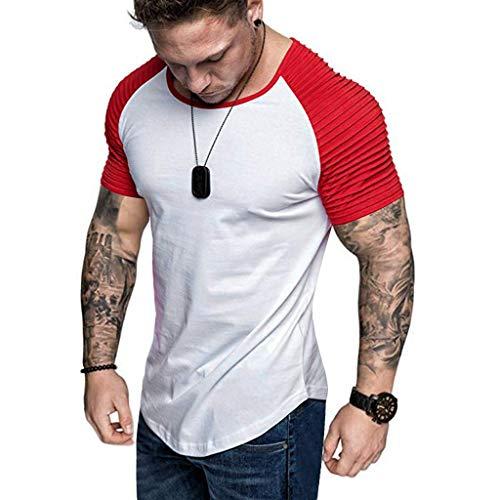 Camisetas Hombre Manga Corta 2019 Nuevo SHOBDW Moda Blusas Hombre Baratas Verano Tops Slim Fit Cuello Redondo Empalme Color Sólido Camisetas Hombre Deporte Venta de Liquidación M-3XL(Rojo,M)