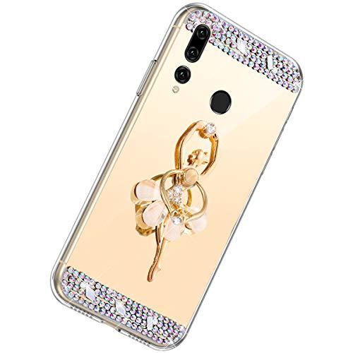 Herbests Compatible con Huawei P Smart Plus 2019 Funda de Espejo Flexible Diamante a Strass Glitter Bling Cover Case para Mujer Chica Cárcasa con Soporte Funda de Silicona Suave,Dorado