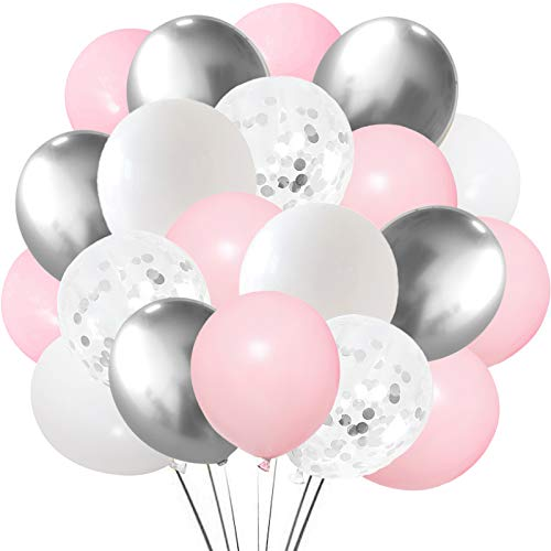 Silver Pink White Latex Balloons, 50 Pack 12 Inches Silver Confetti Party Balloon Metallic Balloons for Girl Baby Shower Birthday Bridal Shower Wedding Party Decorations Supplies