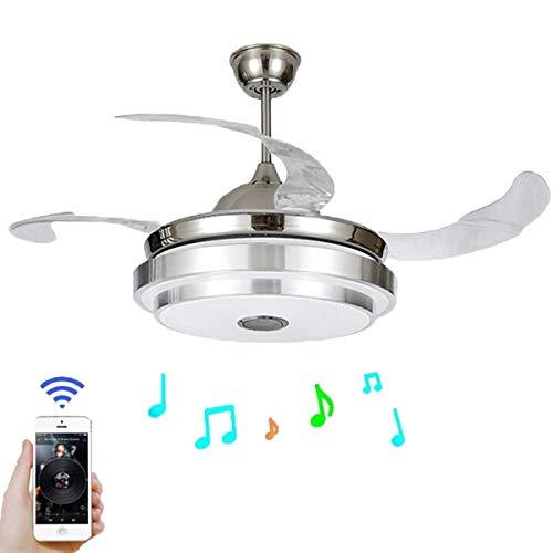 SQDDM Luz de ventilador Aspas retráctiles modernas Ventilador de techo con luz y lámpara de techo remota Regulable con Bluetooth Luz de techo de música plegable
