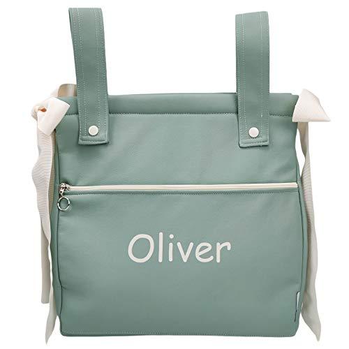 Bolso panera o talega para carrito de bebé personalizado con el nombre bordado. Modelo Harper (Verde menta)