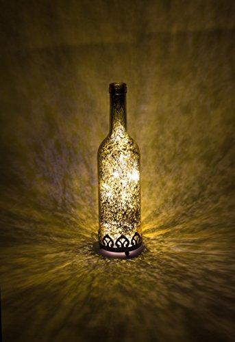 Home&Decorations Lanterne LED Décorative Dorée en Verre – Éclairage Vintage en Forme de Bouteille pour Mariage, Anniversaire, Fête, Dîner