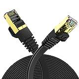 Veetop Cable Ethernet Cat 7 30m LAN de Red con Conectores Rj45 Oro Plano, Velocidad 10 Go/s Negro