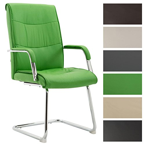 Esszimmerstuhl Caro V2 mit Kunstlederbezug und hochwertiger Sitzpolsterung I Freischwinger mit Armlehne I Bürosessel mit Metallgestell in Chrom-Optik I erhältlich, Farbe:grün