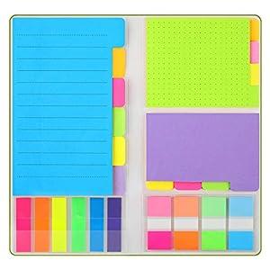 BYLaconic Klebezettel Haftnotizen Set, 390-Stück Post It Set Einschließlich 250Pcs Index Tabs Einfach zu posten Post für Büromaterial - Grün