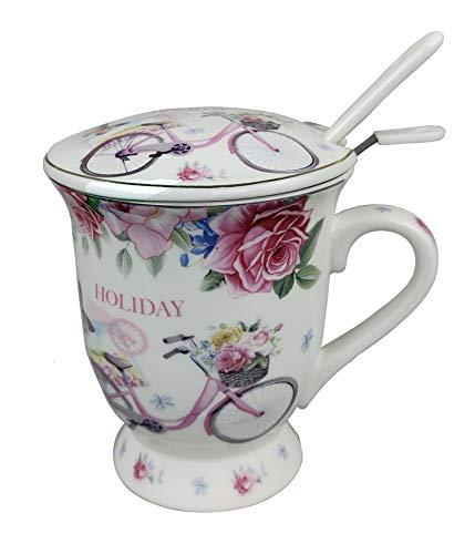GMMH Taza de té con tapa y colador, taza de porcelana para té suelto o bolsitas (pétalos de rosa)