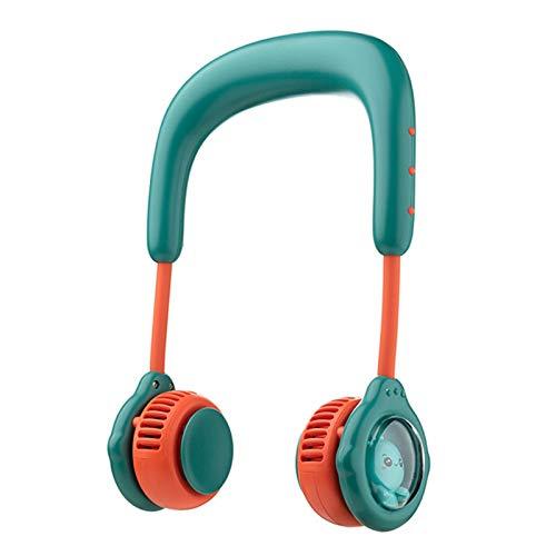 GYAM Mini Ventilador de Collar 4800 mAh USB Recargable portátil Lindo Ventilador eléctrico Recargable Cuello Colgante Ventilador sin Cuchillas para niños,Verde