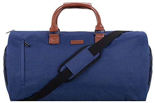Prestige Wochenendtasche und Kleidersack 2in1 55 L - Modell für 2021   Bedrucktes Futter, Laptopfach, Metall-Reißverschlüsse, Geschenkbox + Bonus   Anzugs- und Reisetasche für Herren (Marineblau)