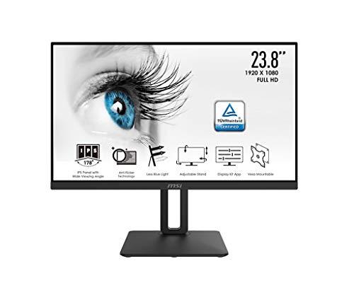 """MSI PRO MP242P Monitor Professionale Flat 24"""", Display 16:9 Full HD (1920x1080), Frequenza 60Hz, Tempo di risposta 5ms, Pannello IPS antiriflesso, collegamenti 1x HDMI e 1x VGA, VESA 100x100mm"""