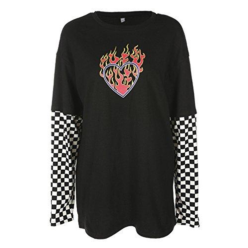 T-Shirt da Taschino con Stampa a Cuore Manica Lunga Scozzese a Quadri Scozzesi Nera e Bianca (M)