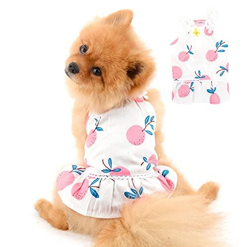 PAIDEFUL Vestido de Perro para Perros Pequeños Medianos Gatos Niñas Chaleco de Algodón Suave Falda con Tirantes Camisetas sin Mangas Transpirables Chihuahua Ropa Mujeres Mascota Verano Rosa M