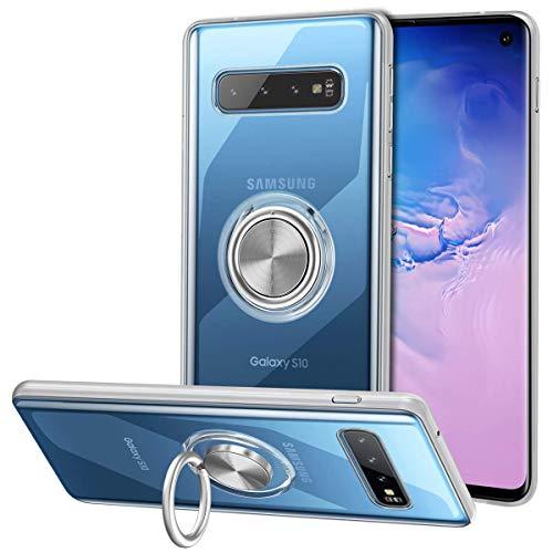 Vunake Galaxy S10 Hülle mit 360 Grad Ring Case Stand Silikon TPU Slim Cover Transparent Ultradünn Handyhülle Magnetische Autohalterung Schutzhülle für Samsung Galaxy S10,Clear