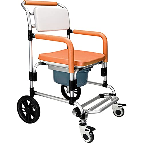 Andador con ruedas de aluminio de cuatro ruedas, ayuda para caminar, silla de inodoro con inodoro para ducha, silla plegable portátil con inodoro incorporado, ayudas para la movilidad, silla de viaje