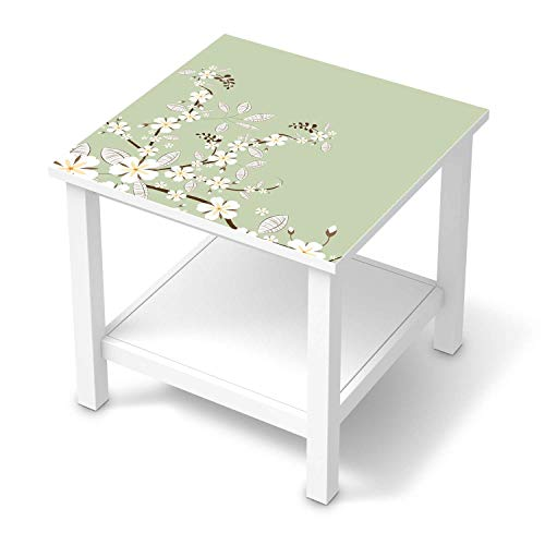 creatisto Möbel-Folie passend für IKEA Hemnes Beistelltisch 55x55 cm I Möbelfolie - Möbel-Tattoo Sticker Aufkleber I Deko Ideen Wohnung für Esszimmer und Wohnzimmer - Design: White Blossoms