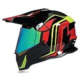 DOT/ECE Certification Full-Face Motocross Anti-Collision Helmet with Sun Visor Adult Men and Women Dual Sports Motocross Downhill Helmet Motocross Bike MX ATV Helmet,Pink (Color Mirror),M