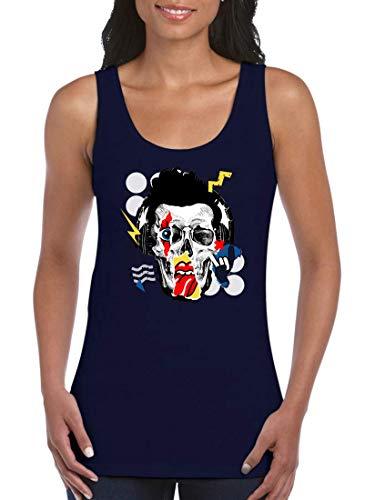 Druckerlebnis24 Camiseta de Tirantes con diseño de Calavera, para Mujeres y Mujeres Azul XXL