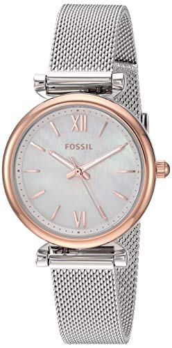 Fossil Women's Carlie Mini Quartz Mesh Three-Hand Watch, Color: Rose Gold/Silver (Model: ES4614)