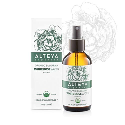 Alteya Organic Eau de rose blanche bulgare 120 ml Spray Bioglass - Certifiée 100% organique USDA, pure, naturelle, Eau florale distillée, Vendue directement par le producteur et le distillateur