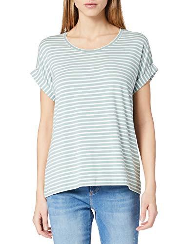 ONLY Damen ONLMOSTER Stripe S/S O-Neck TOP JRS NOOS T-Shirt, Jadeite/Stripes:Cloud Dancer, XL