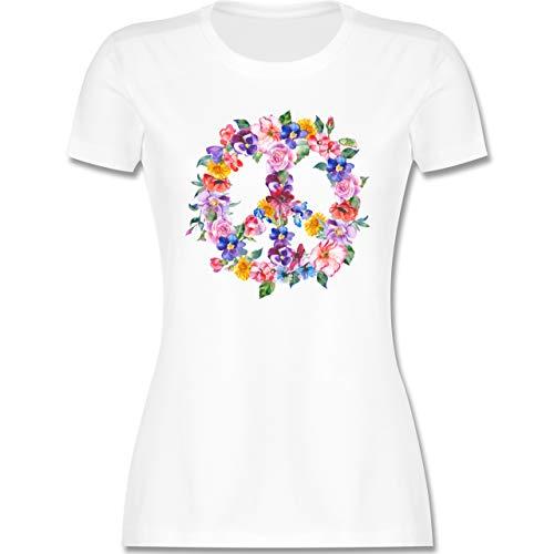 Statement - Peace Zeichen mit bunten Blumen - L - Weiß - Bunte Kleidung Damen - L191 - Tailliertes Tshirt für Damen und Frauen T-Shirt