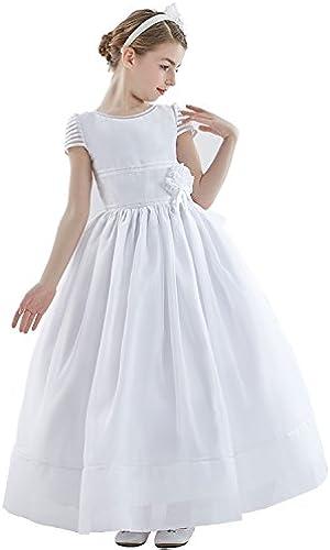 OYUNG Kommunion Kleid WeißOrganza Ballkleid Scoop Neck Kurzarm Kn ell e