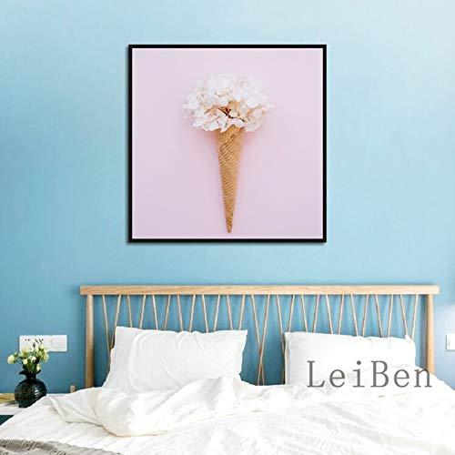 hllhpc (Senza Cornice) poster minimalistische achtergrond roze boeket wit Puro bedrukt op canvas voor woonkamer