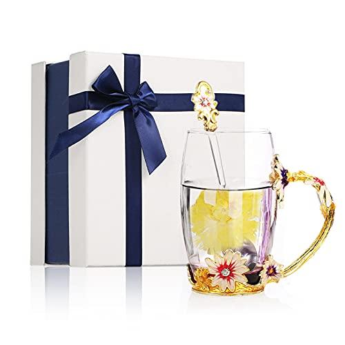 Taza de Té con Flores de Cristals, Innovadora Taza de Café de Cristals con Cuchara de Acero, Juego de Regalos para el Festival para Bodas, Cumpleaños, Navidad(Crisantemo Marrón 350ML)