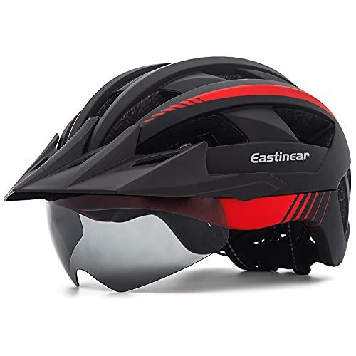 EASTINEAR Casco Bici con Visiera Luce di LED Casco MTB per Adulto Uomo Donna Casco Bici Mountain Bike con Occhiali Magnetici Misura Regolabile 57-61 CM (Nero Rosso)