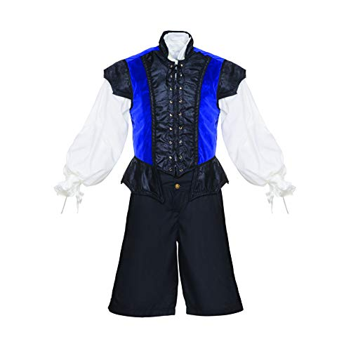 Men's Renaissance 3 Piece Ren Faire Doublet Costume Game of Thrones Cosplay (Large, Navy Blue)