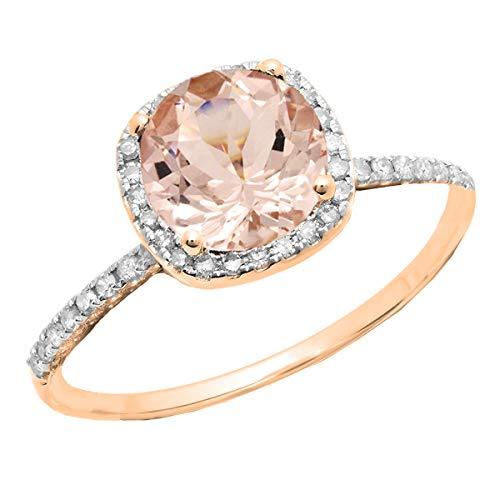 Dazzlingrock Collection - Anillo de compromiso de oro rosa con diamante blanco y morganita redondo de 14 K y 6 mm