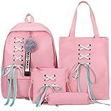 4PCS School Bags Canvas School Backpack +2 Casual Shoulder Bag Pencil Bags for Travel Teenagers School Girls Boys