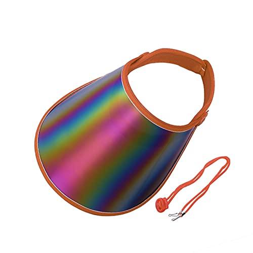 WWWL Sombrero para el Sol de Mujer Unisex Mujeres Hombres Verano Sol Visor UV Protección Casual Transparente Vacío Top Plastic Sombrero Sunscreen Casera de la Bicicleta Sombrero (Color : Orange)