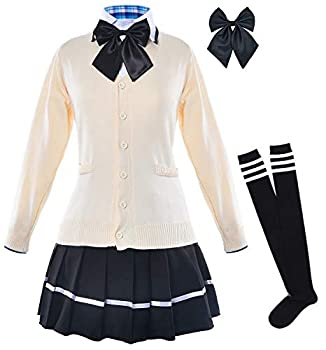 Japanese School Girls Classic Sailor Dress Shirts Uniform Anime Cosplay Costumes with Cardigan Sweater and Socks set SSF18 XL Tag XXL