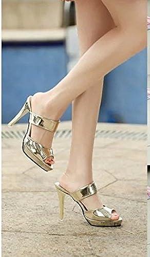 Yingsssq Frauen Flip-Flops Hausschuhe High Heel Fein Fein Fein mit wasserdicht (Farbe   Golden 10cm, Größe   5.5 US 35.5 EU 3 UK)  zurückhaltende Luxus-Konnotation