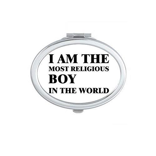 DIYthinker Je suis Le Religieux Boy Miroir Ovale Maquillage Compact Portable Cute Cadeau Miroirs de Poche à la Main